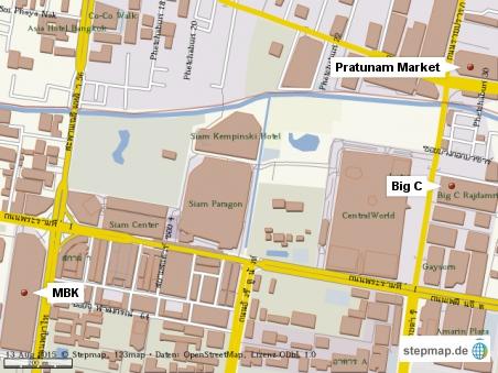 So findet man den Big C und den Pratunam Market...