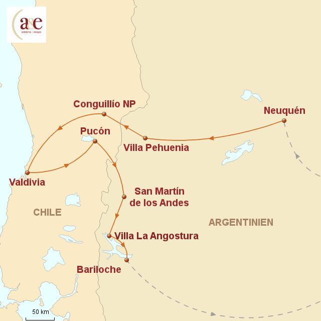 Routenkarte zur Reise Im Land der Araukaner