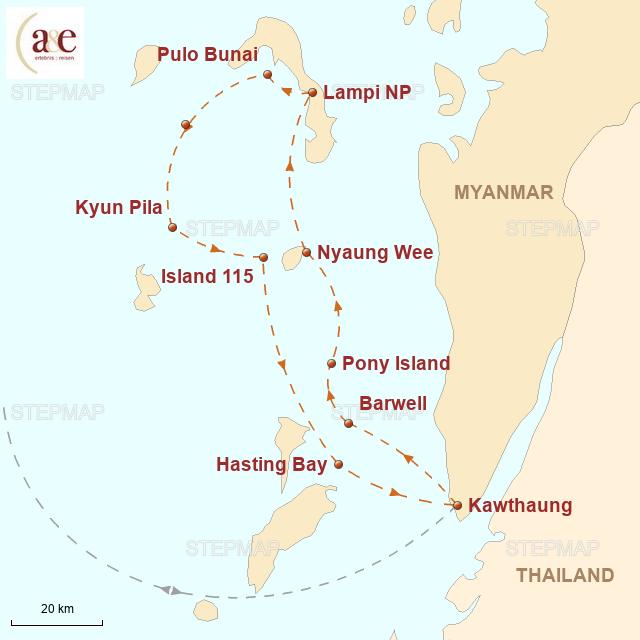 Routenkarte zur Reise Segelkreuzfahrt im Mergui-Archipel – Neuer Verlauf
