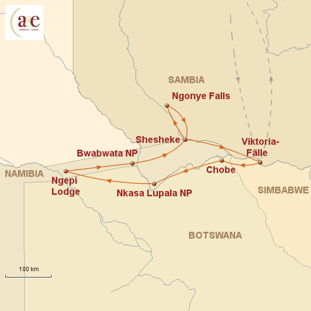 Routenkarte zur Reise KAZA – Naturschutz im Süden Afrikas
