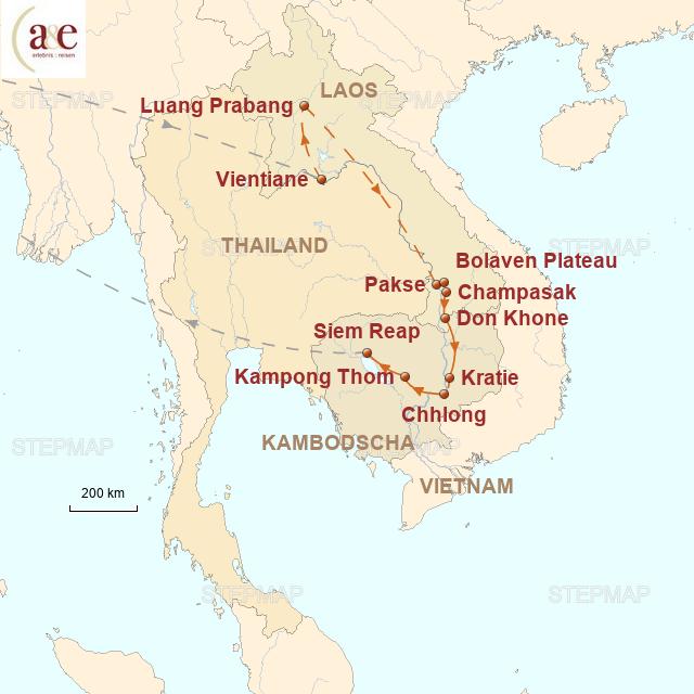 Routenkarte zur Reise Aktiv im Artenparadies Mekong