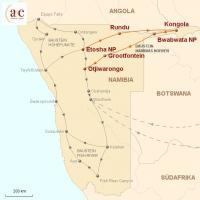 Routenkarte zur Reise Namibias Norden