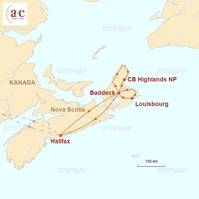 Routenkarte zur Reise Ursprüngliches Nova Scotia