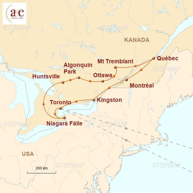 Routenkarte zur Reise Das Beste im Osten
