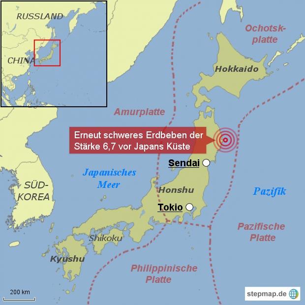 Erneut schweres Erdbeben in Japan