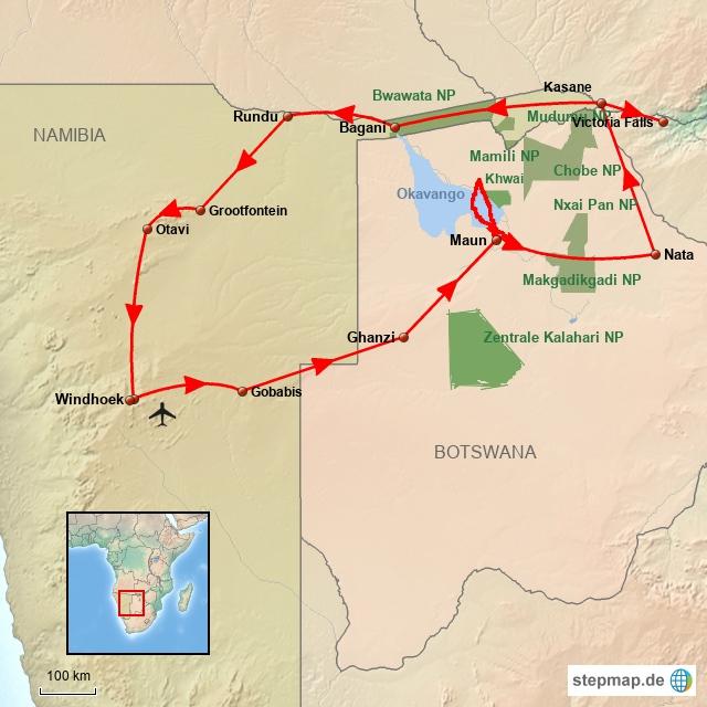 SW Windhoek/Botswana/Caprivi/Windhoek