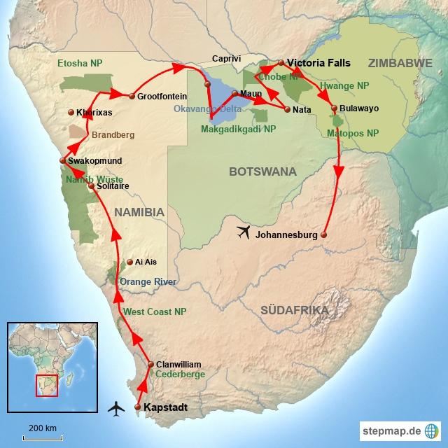 SA Von Kapstadt nach Victoria Falls