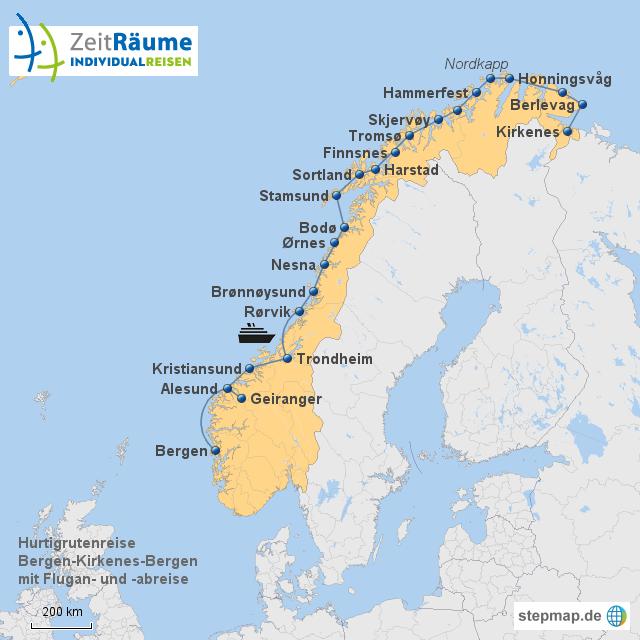 Hurtigruten Bergen-Kirkenes-Bergen ohne Flug mit Logo