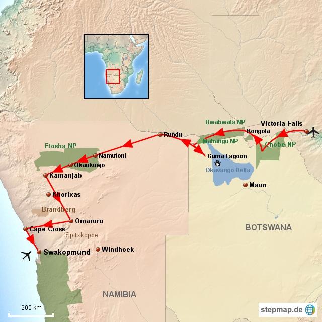 SW Safari von Victoria Falls nach Swakopmund