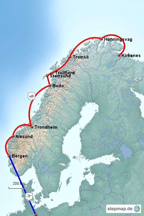 Teil 1 der Reise: Unterwegs mit den Hurtigruten Richtung Norden