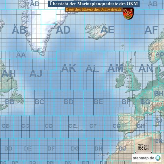 Übersicht der Marineplanquadrate des OKM (Karte 9)