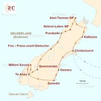 Routenkarte zur Reise Neuseelands wilder Süden