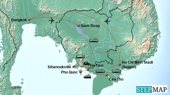 Hier die Reiseroute ab Bangkok..........