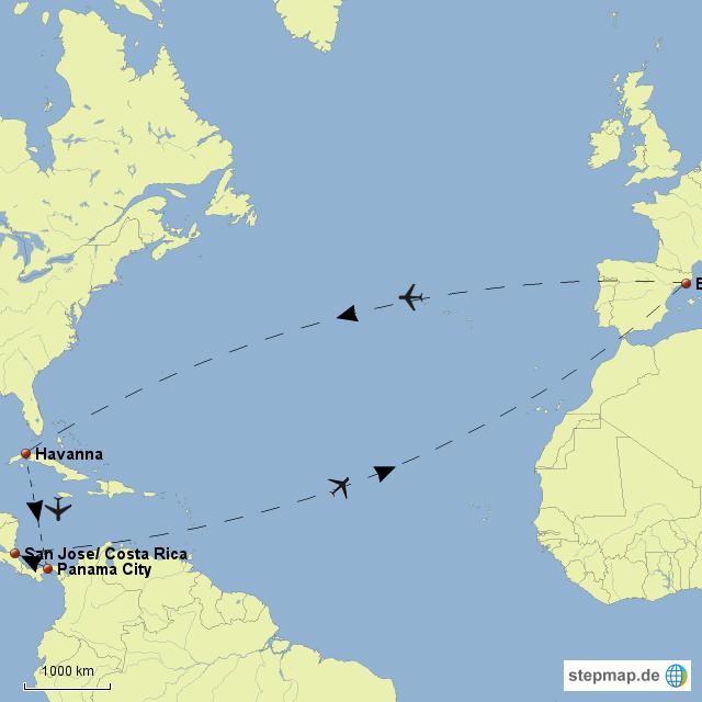 Hier die ersten Gehversuche mit unserer Landkarte! Los geht´s von Barcelona nach Havanna/ Kuba. Weiter nach Panama City/ Panama. Von dort aus haben wir dann 5 Wochen Zeit um nach San Jose/ Costa Rica zu kommen...von dort aus geht es dann wieder nach Hause.