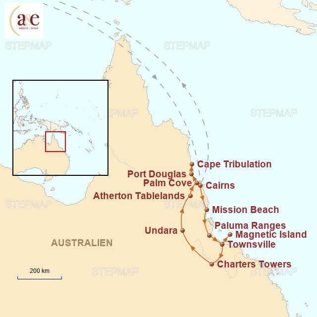 Routenkarte zur Reise Great Tropical Drive in Queensland