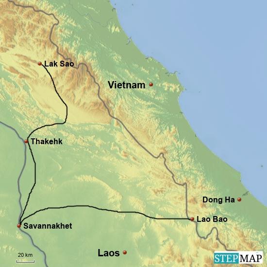 Lao Bao - Savannakhet - Lak Sao  500 km
