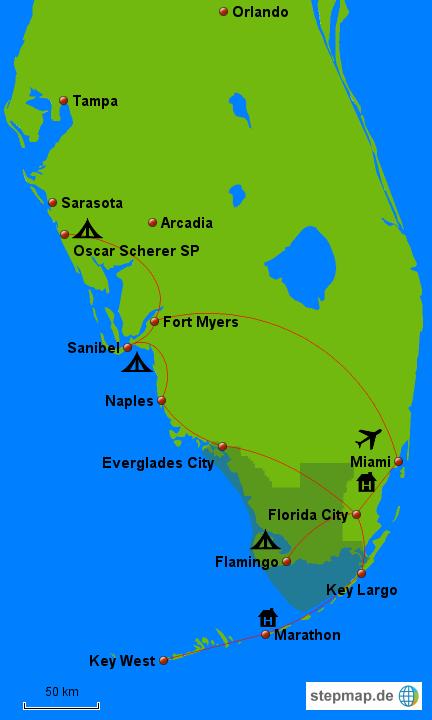 Meine Reiseroute in Florida