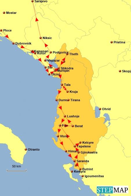 Hier noch einmal unsere Reiseroute in Albanien zum Nachverfolgen