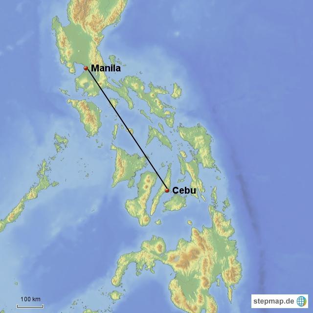 Manila - Cebu 1h und ein paar Minuten mit Air Asia, 1720 Bath