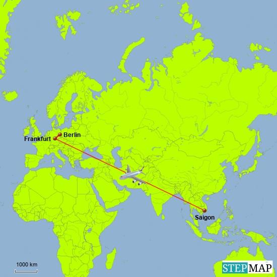Von Berlin aus ging es über Franfurt nach Saigon