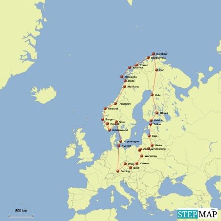 Das sind unsere geplanten Stationen. Von Olching nach Nysted (Dänemark, Insel Lolland), über Kopenhagen, Malmö nach Oslo, Kristiansand, Bergen, Alesund, Trondheim, Mo I Rana, Bodo, Lofoten, Tromso, Hammerfest, Nordkap, Inari (Lappland / Finnland), Oulu, Mikkeli, Helsinki, Tallinn (Estland), Riga, Vilnius, Masuren, Warschau, Prag und zurück nach Olching
