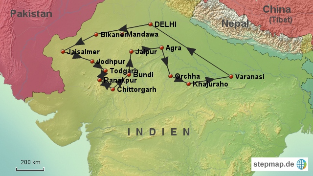 Tourstart und Ende ist in Delhi, der indischen Hauptstadt