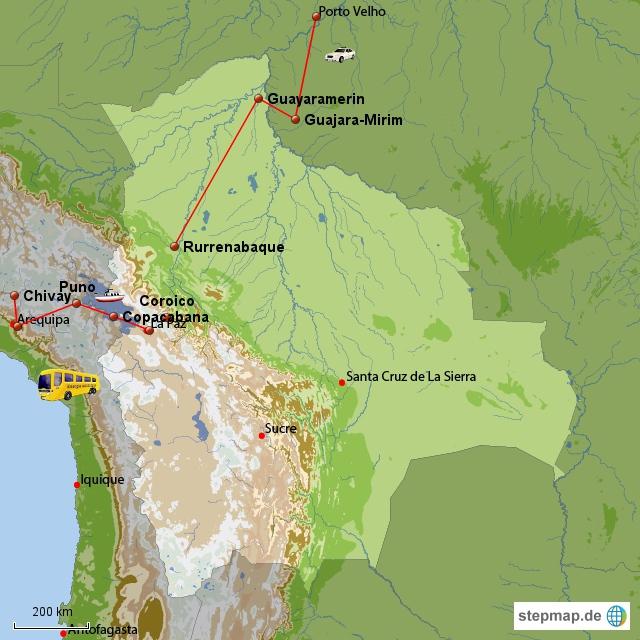 Von Rurre nach Porto Velho über Guayaramerin und Guajara-Mirim...viele, viele Stunden mit Bus, Boot und Taxi.