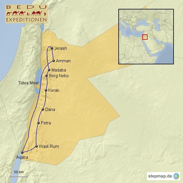 Jordanien Karte.Karte Jordanien Jerash Dana Petra Wadi Rum