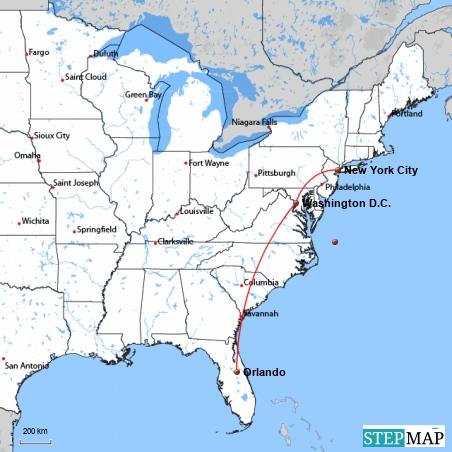 Die Destinationen meiner 5. USA-Reise im August 2011