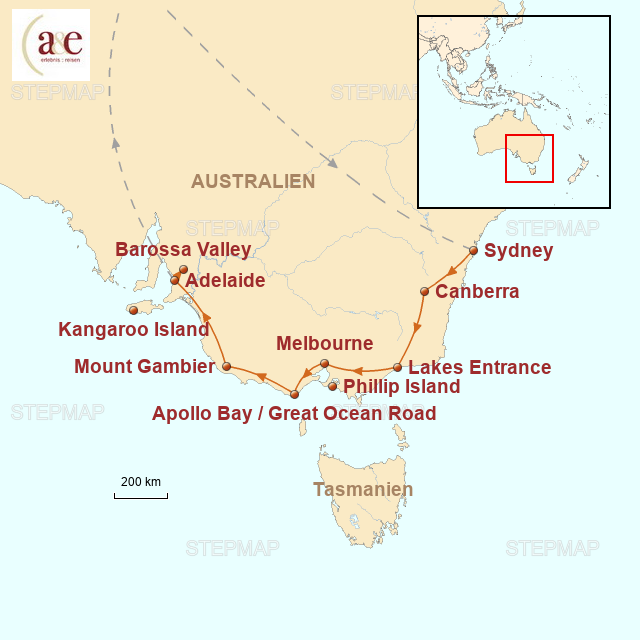 Routenkarte zur Reise Ocean Drive: Sydney - Adelaide