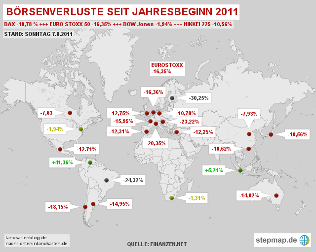 Börsenverluste seit Jahresbeginn (1.1.2011)