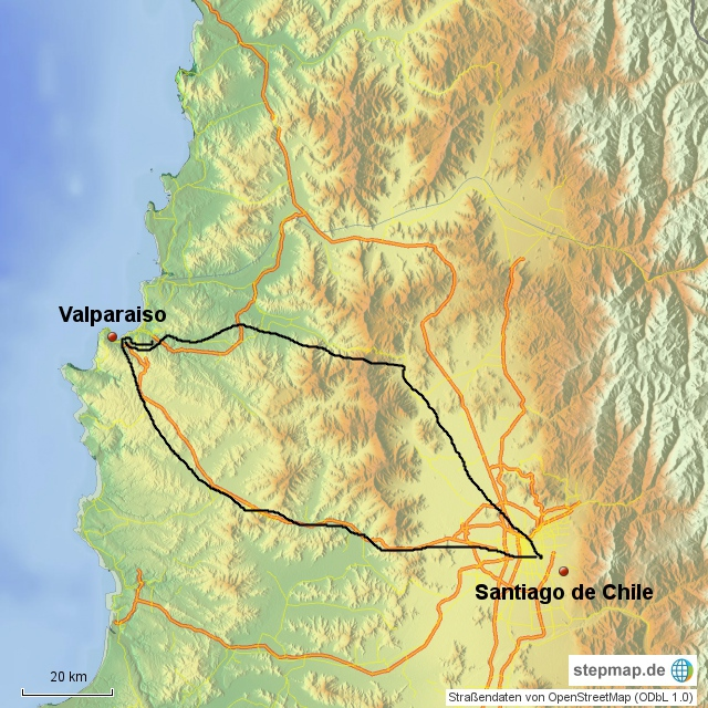 Santiago - Valparaiso - Santiago,  320 km