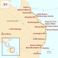 Routenkarte zur Reise Sunshine Drive:Sydney - Cairns