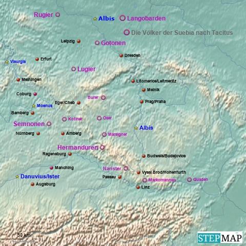 Die Völker der Suebia nach Tacitus' Germania