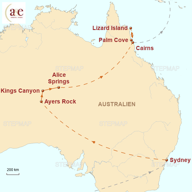 Routenkarte zur Reise Einmal Outback und zurück