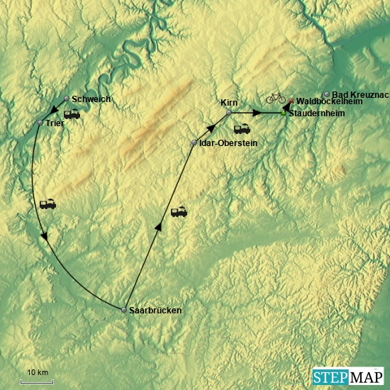 Am 3. Tag Transfer mit der Eisenbahn von Schweich an der Mosel über Trier und Saarbrücken nach Staudernheim, von dort die letzten 12 km doch noch per Rad nach Waldböckelheim.