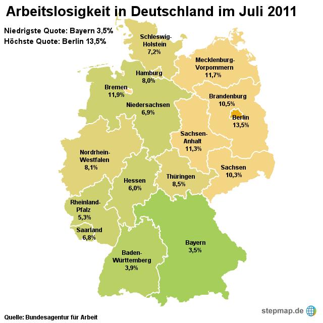 Arbeitslosigkeit in Deutschland Juli 2011