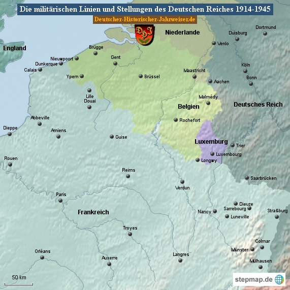 Die militärischen Linien und Stellungen des Deutschen Reiches 1914-1945 (Karte Belgien/Frankreich 1)
