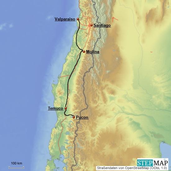 Pucon - Valparaiso, 900 km, 4 Tage