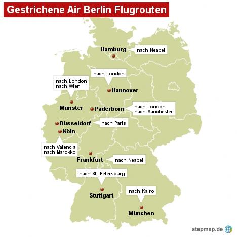 Gestrichene Air Berlin Flugrouten