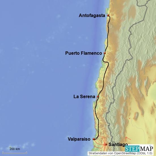 Valparaiso - Antofagasta, 1300 km, 5 Tage