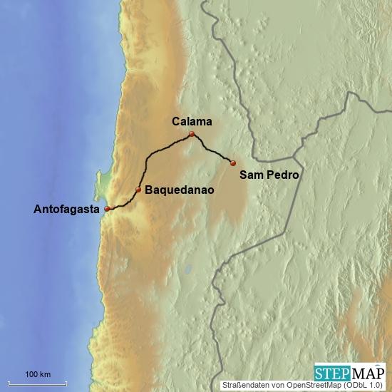 Antofagasta - San Pedro de Atacama 310 km