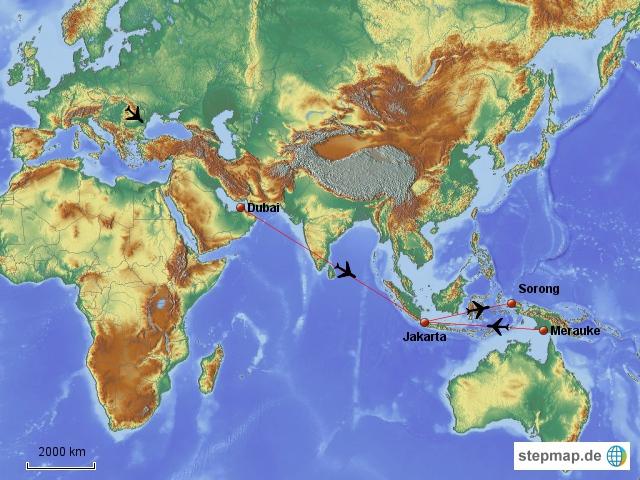 Hier sieht man die lange Anreise von Hamburg über Dubai-Jakarta bis zur ersten Etappe Sorong auf Westpapua