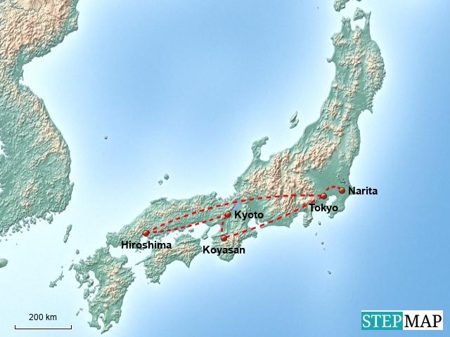 Grobe Reiseroute Japan