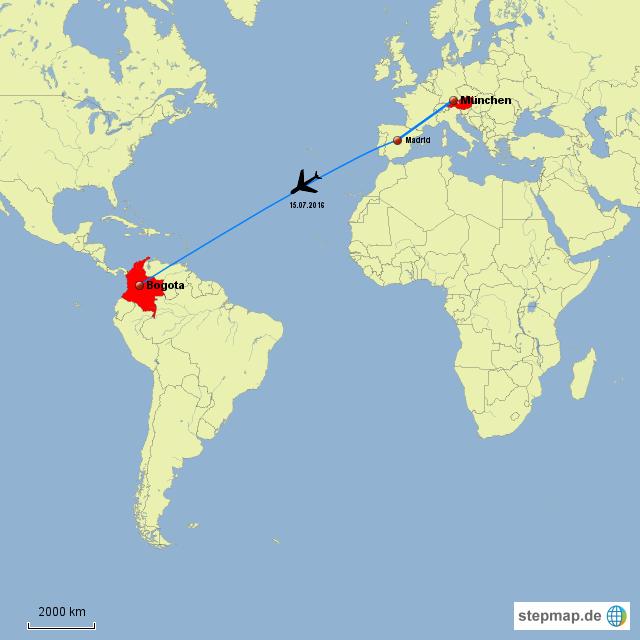 Anreise von Österreich nach München und via Madrid nach Bogota
