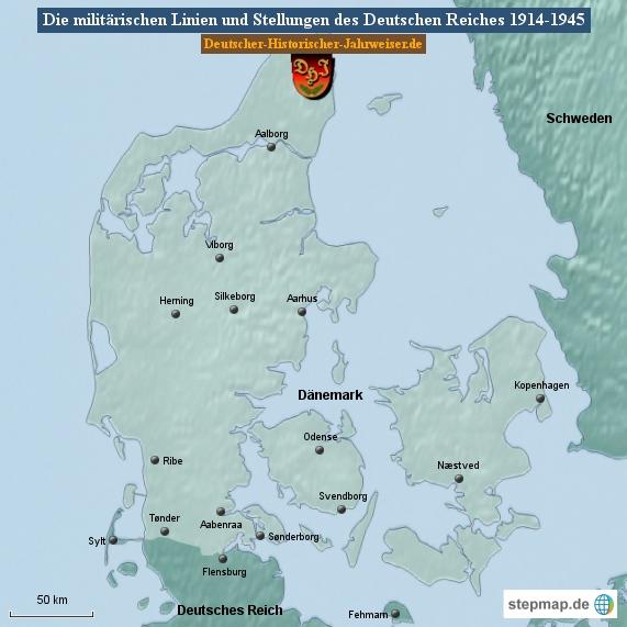 Die militärischen Linien und Stellungen des Deutschen Reiches 1914-1945 (Karte Dänemark 1)