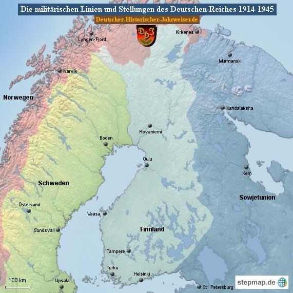 Die militärischen Linien und Stellungen des Deutschen Reiches 1914-1945 (Karte Finnland 1)