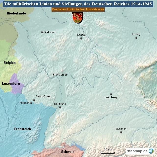Die militärischen Linien und Stellungen des Deutschen Reiches 1914-1945 (Karte Deutsches Reich 1)