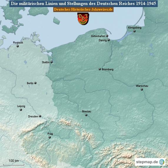 Die militärischen Linien und Stellungen des Deutschen Reiches 1914-1945 (Karte Deutsches Reich 2