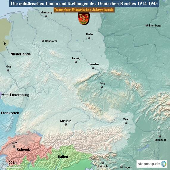 Die militärischen Linien und Stellungen des Deutschen Reiches 1914-1945 (Karte Deutsches Reich 3)